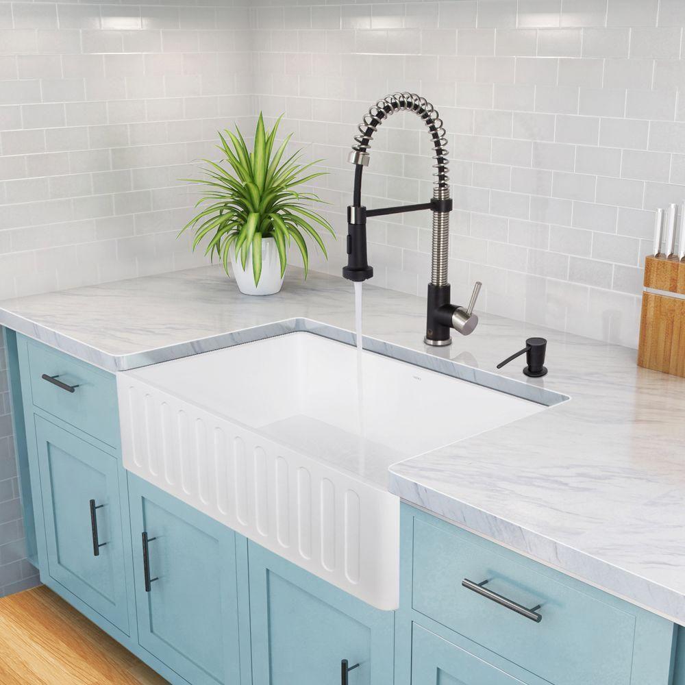 vigo matte stone farmhouse composite 30 in single bowl on farmhouse sink lowest price id=45915