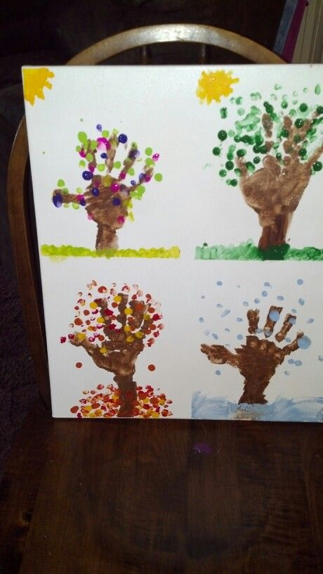 seasons craft ideas handprint fingerprint season trees on canvas our version 2899