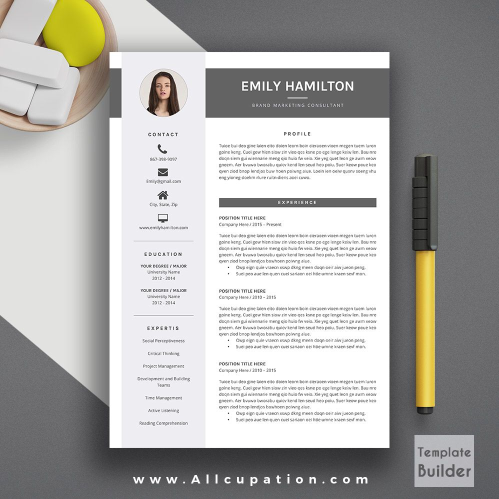 Creative resume template modern cv template word cover letter creative resume template modern cv template word cover letter references instant download mac pc emily yelopaper Choice Image