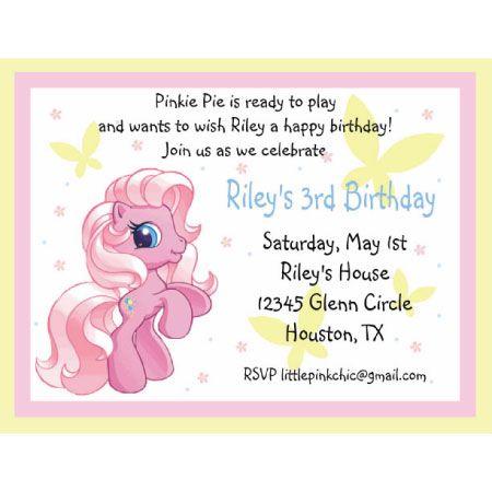My Little Pony Birthday Invitation Emily 6 Pinterest Pony