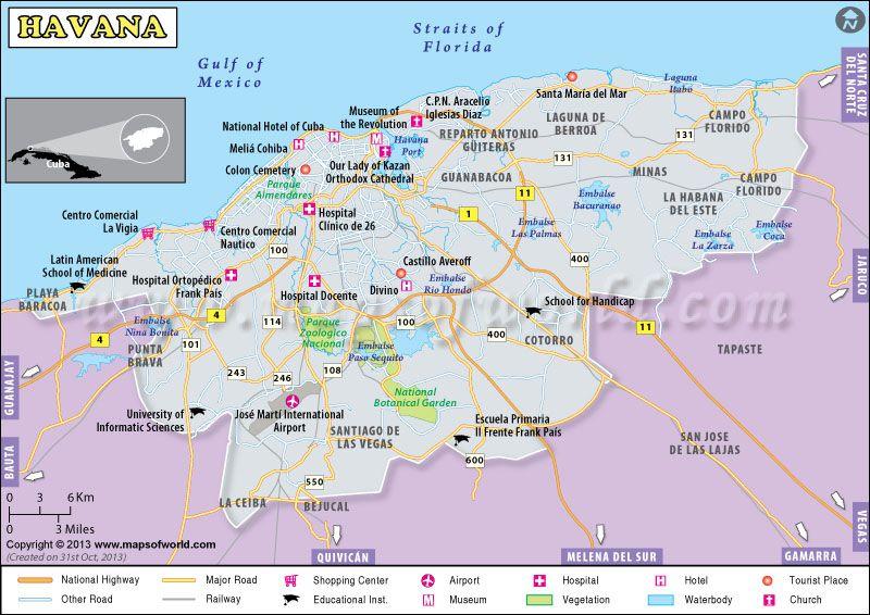 Captivating Cuba Fly to Havana Havana map for you Cuba map