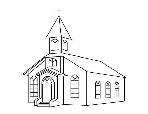Church Coloring Page Etsy House Drawing Coloring Pages Church