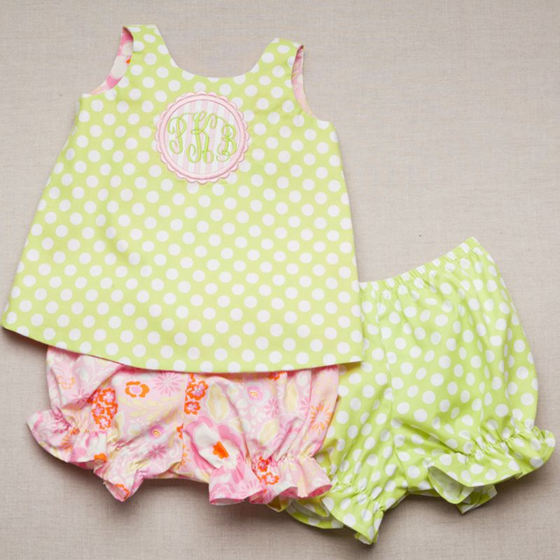 Reversible Bloomer set in Pink Floral and Kiwi Dot monogrammed with ...
