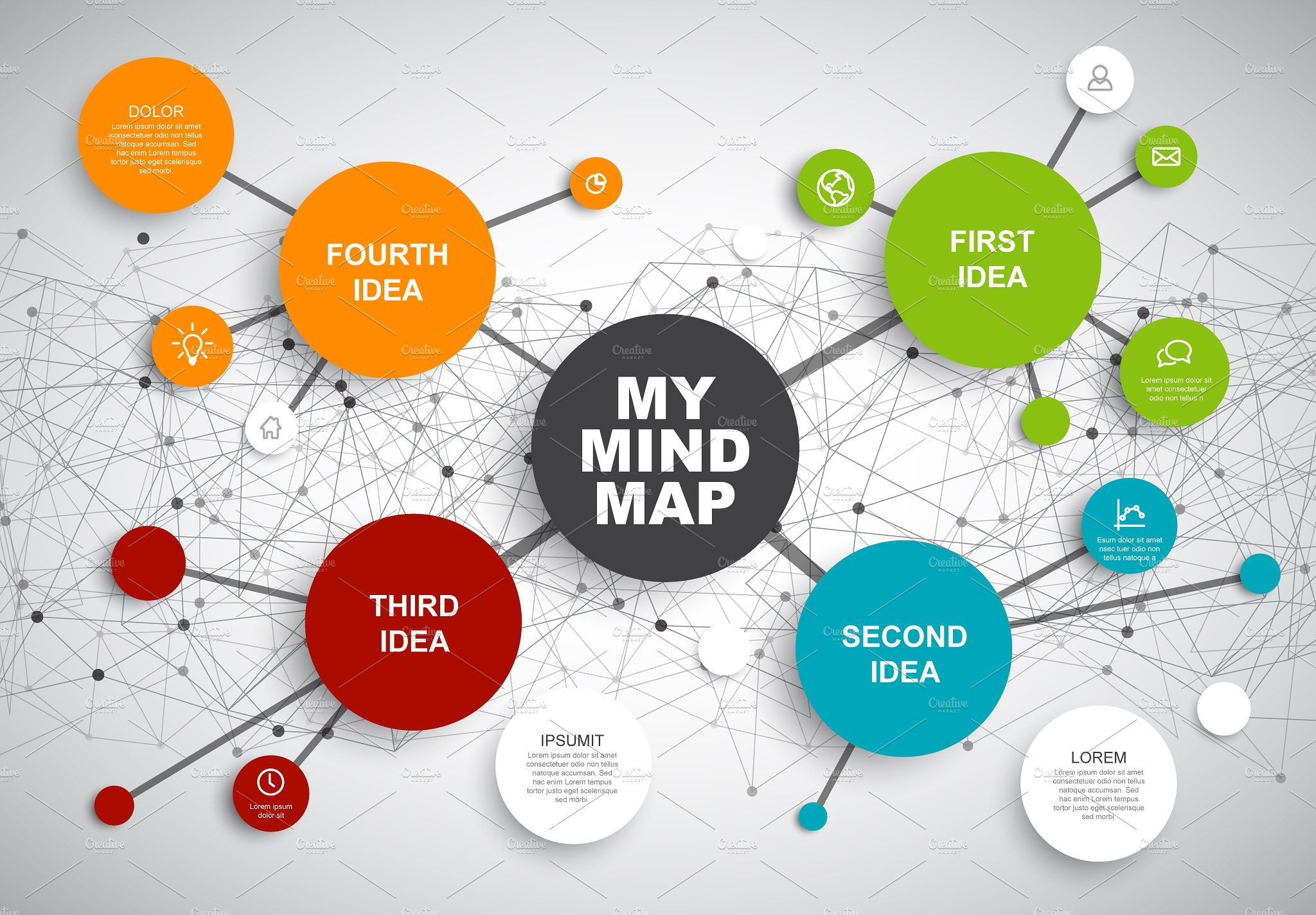 Mindmap vector template by Orson on creativemarket