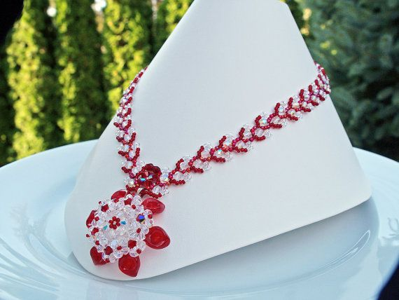 Handmade red white Beaded Necklace Pendant Swarovski by Florist, $120.00