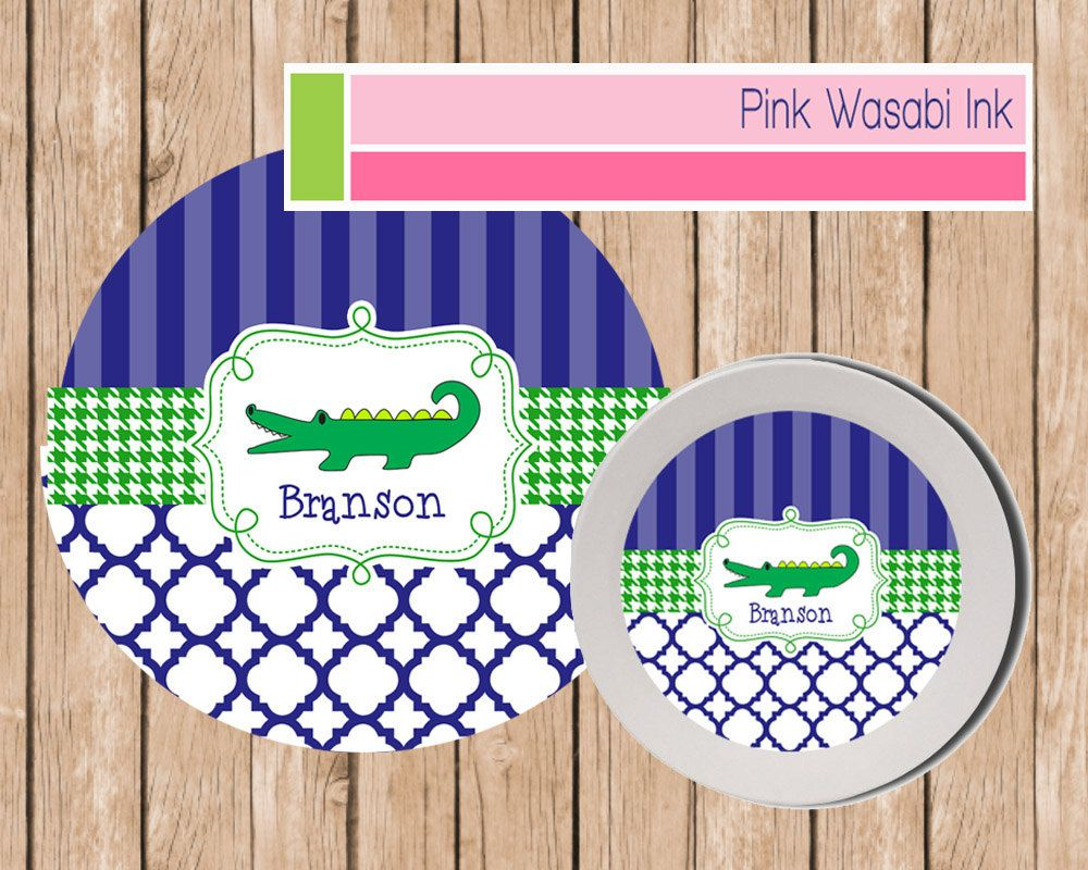 Personalized Kids Plate and Bowl Set  sc 1 st  Pinterest & Personalized Plate Bowl Set Kids Melamine Dishes Preppy Alligator ...