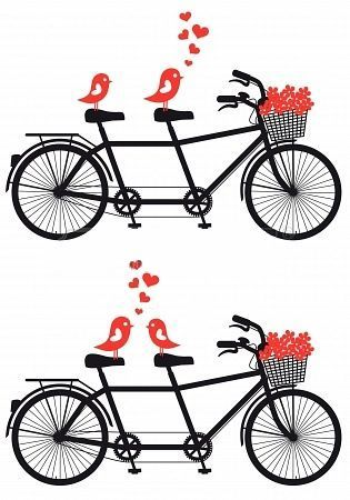 tandem with lovebirds and flowers in their baskets print like your rh pinterest com tandem bicycle clipart tandem bicycle clipart free