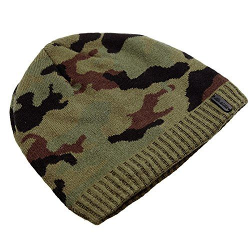 8abd290a854 D-ling Man Winter Warm Camouflage Camo Outdoors Knit Beanie Wool Hat  Uncuffed Wind-