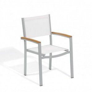 Travira Armchair - Powder Coated Aluminum, White Composite Sling Seat/Back,  Teak Armcaps