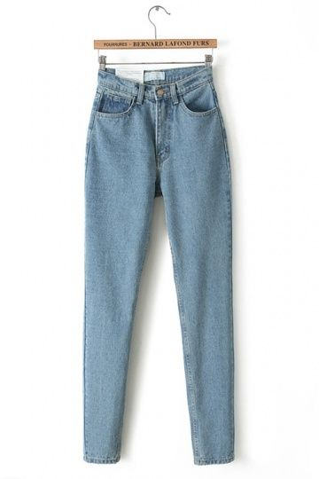 Retro Simple Style High Waist Jeans