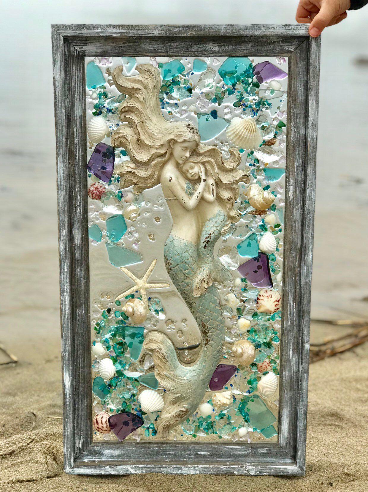 Large beach glass shells and mermaid in barnwood frame