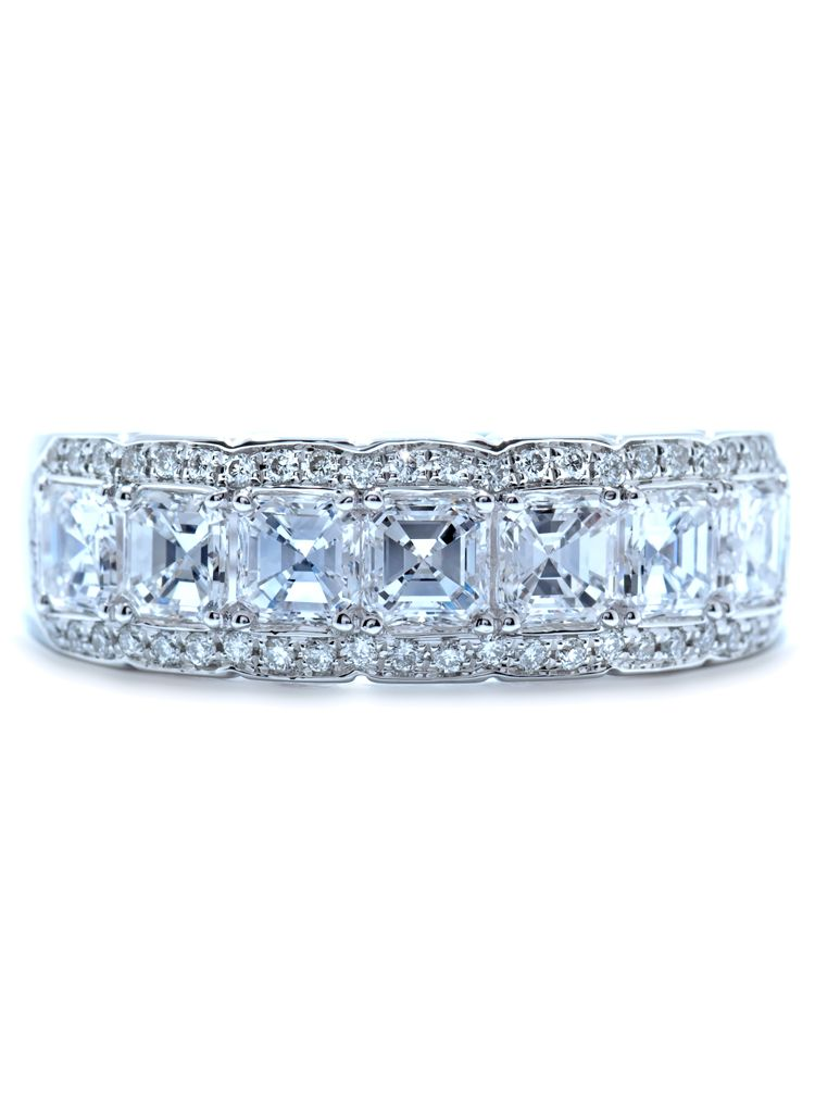 Artdeco anniversary band with Asscher cut diamonds Wedding