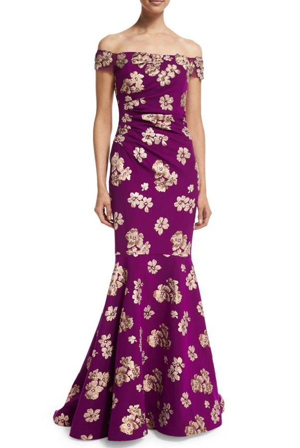 Badgley Mischka Off the Shoulder Orchid Floral Gown   Floral Dresses ...