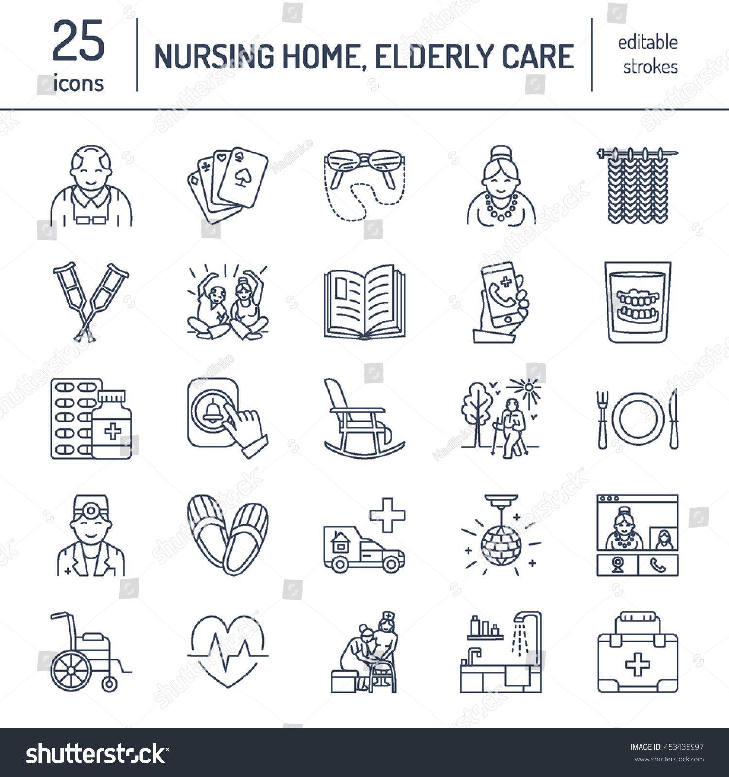 Modern vector line icon of senior and elderly care