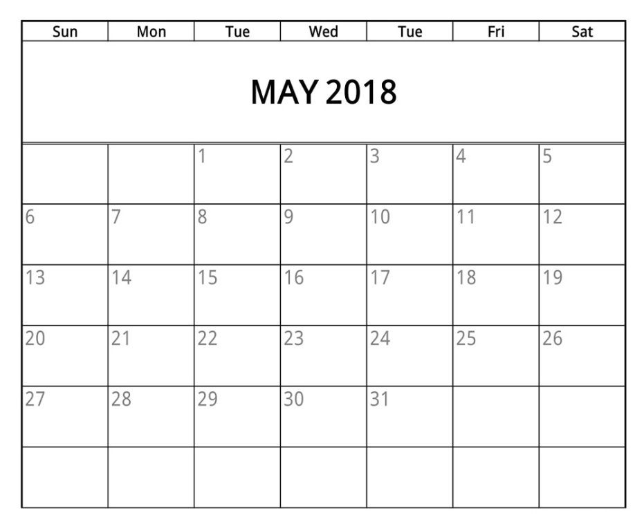 Pin by Sourcetemplate on May 2018 Calendar Pinterest May 2018
