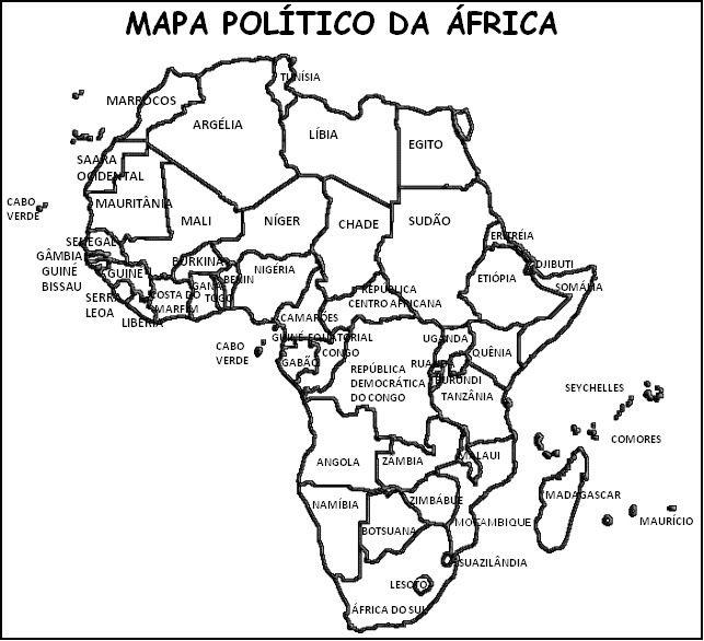 Resultado de imagem para mapa da áfrica para colorir | DESENHOS ...