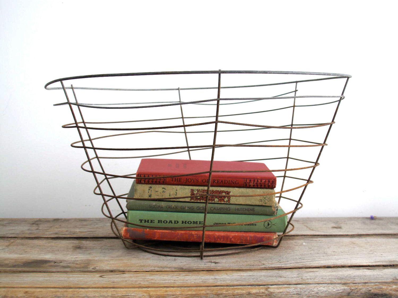 Large Wire Basket - Antique Potting Basket, Industrial Decor ...