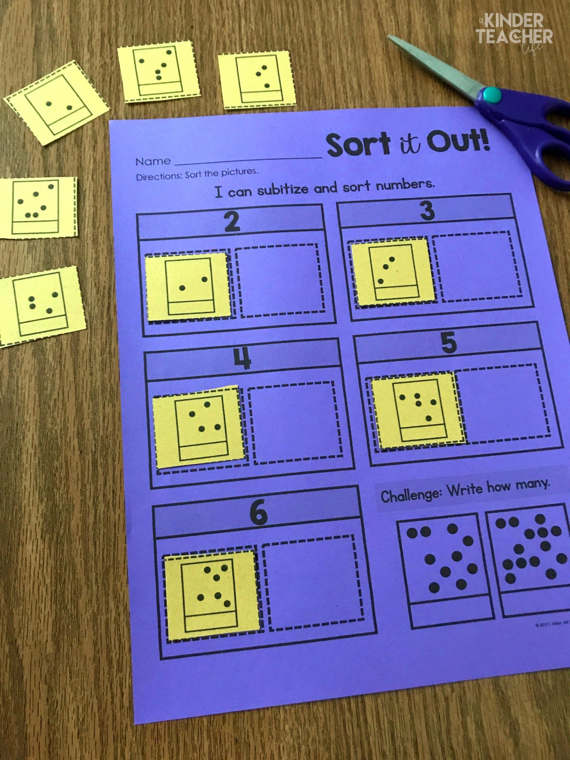 Subitizing Strategy And Sorting Worksheets With Images