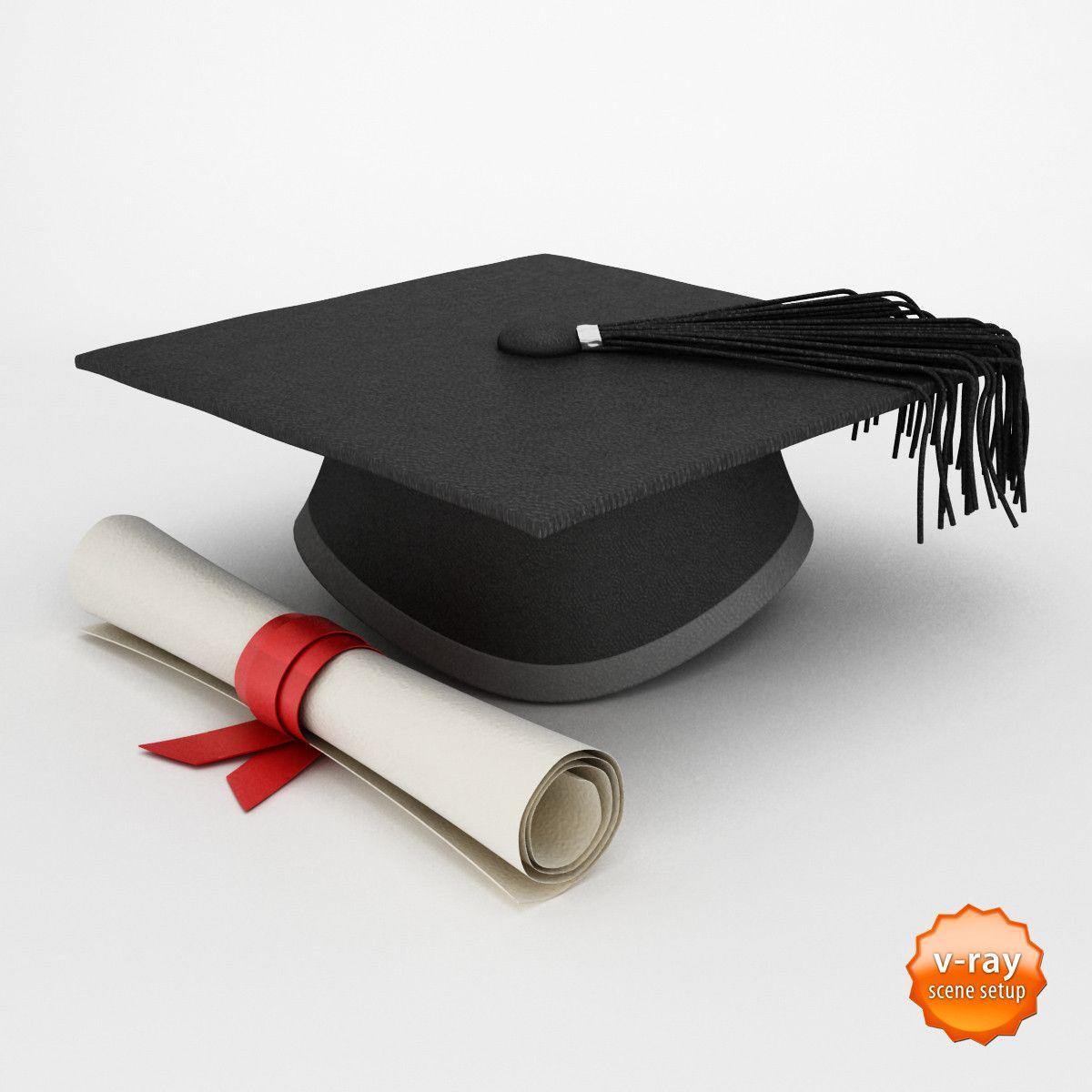 max graduation cap diploma 3d model