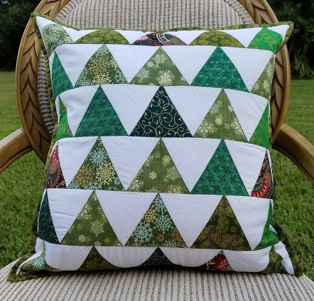 Quilted Modern Christmas Decorative Throw Pillow Cover With Green Amazing Decorative Quilted Pillows