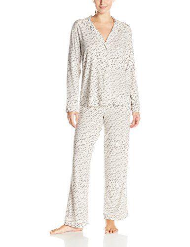 eberjey Women s Sleep Chic Long Sleeve Pajama Set, Grey Foxtail, Small bb98f2cd052
