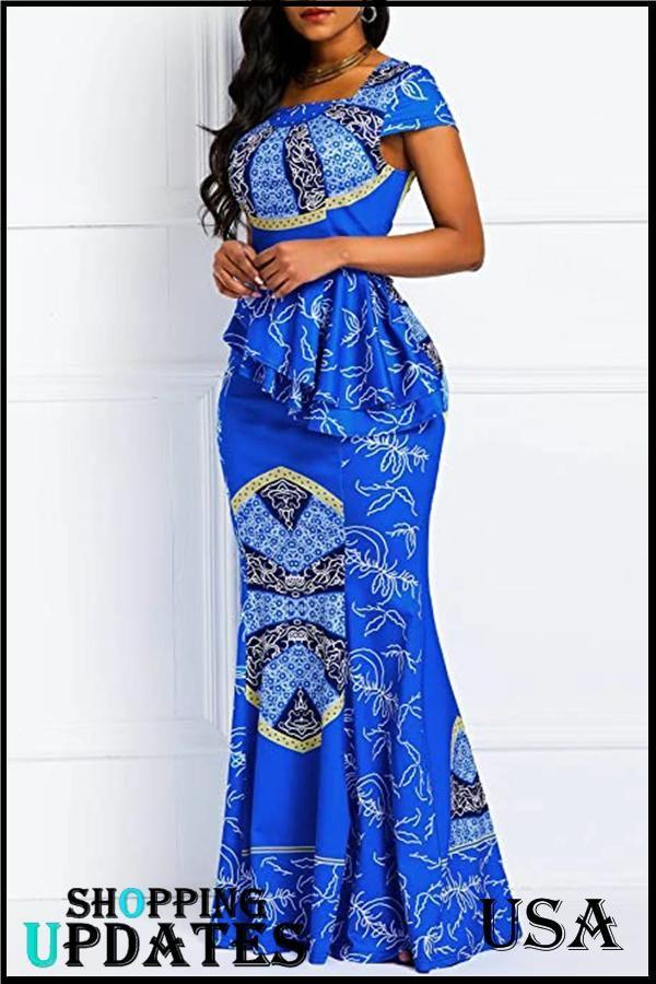 Geometric Mermaid Maxi Dress