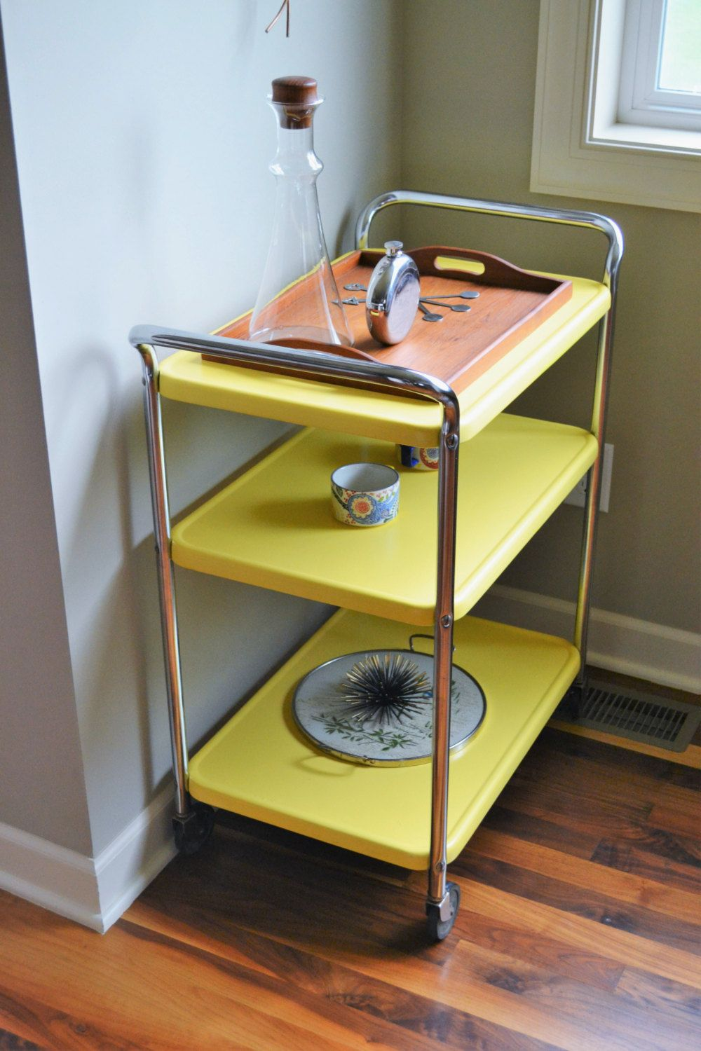 Retro Metal Kitchen Table Vintage Yellow Costco Style Rolling Cart Mid Century Modern Bar