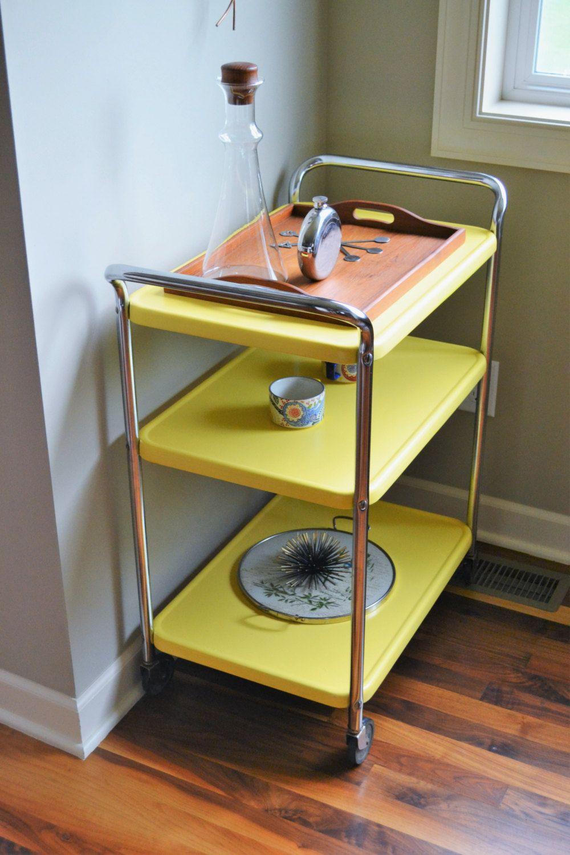 Vintage Metal Kitchen Cart Vintage Yellow Costco Style Rolling Cart Mid Century Modern Bar