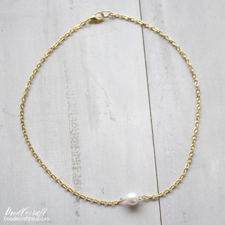 Doodlecraft Gold Chain Pearl Choker Necklace DIY Diy