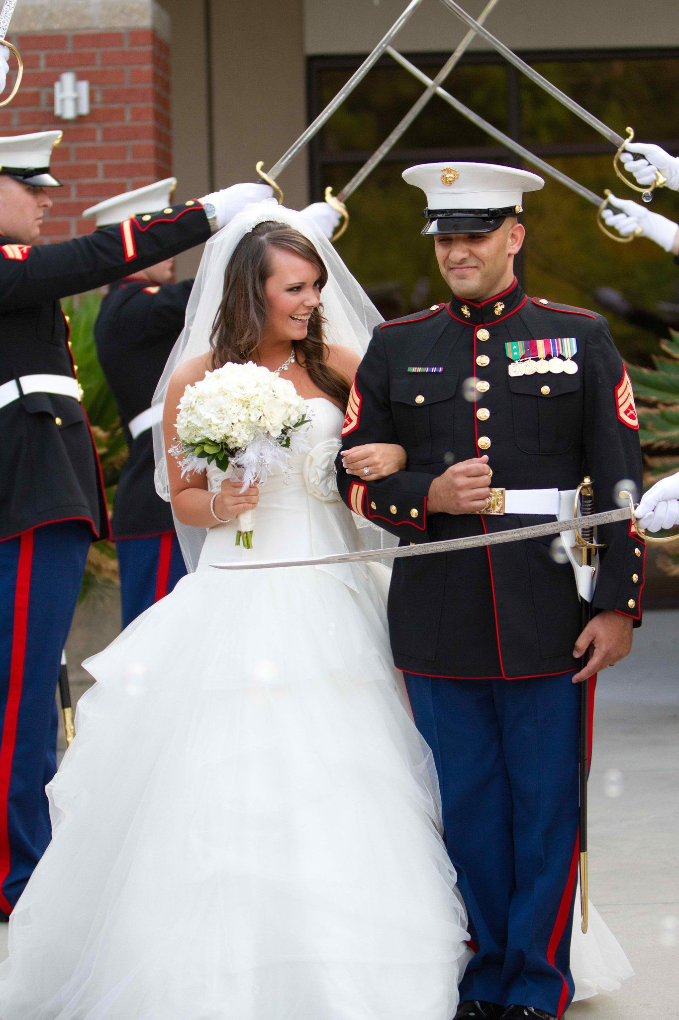 Military Wedding Marine Redwhiteblue Only Officers Can Have The Sword Salute At A Wedding Marine Wedding Military Wedding Marine Corps Wedding