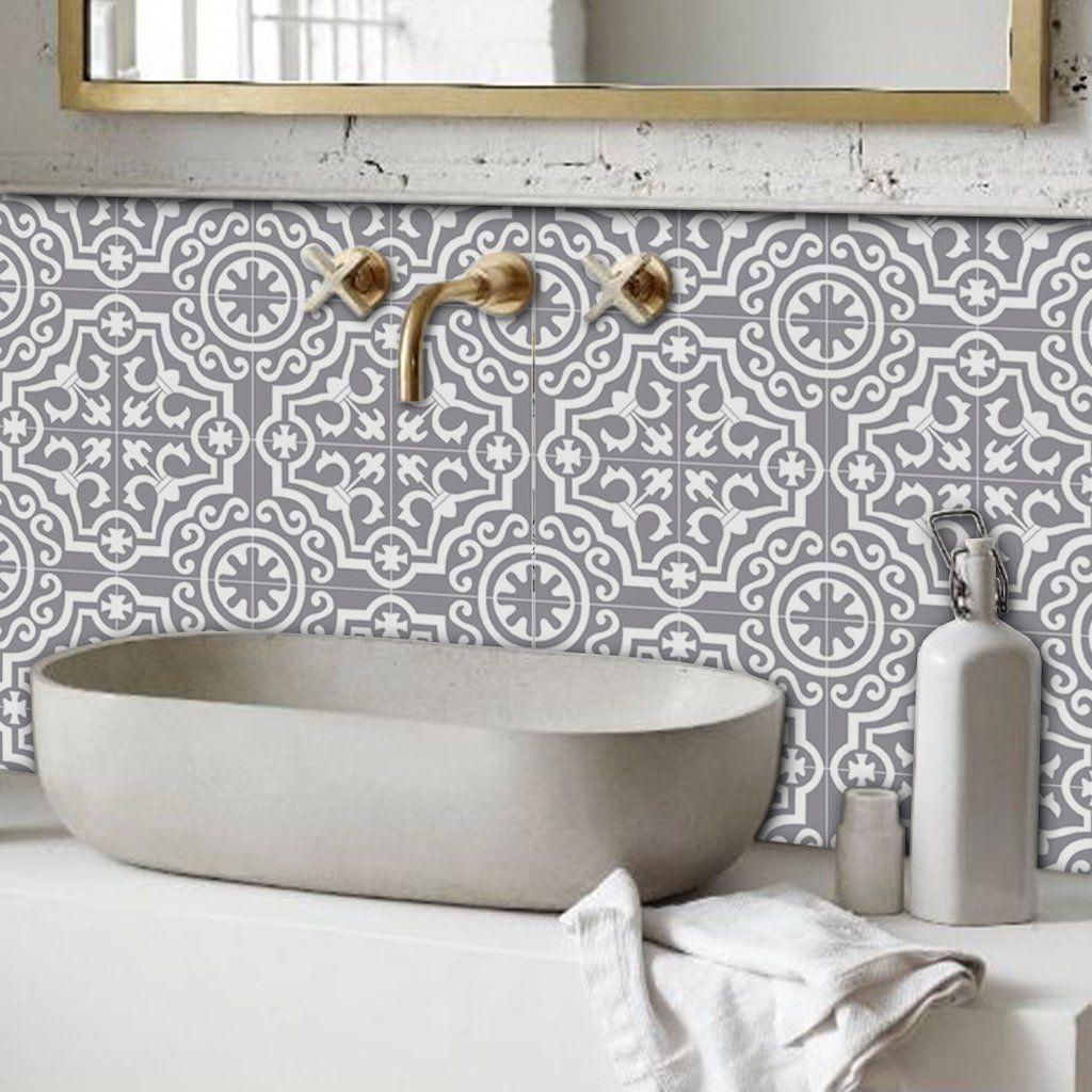 Lys In Grey Wallpaper Tile Bathroom Vinyl Tile Bathroom Flooring