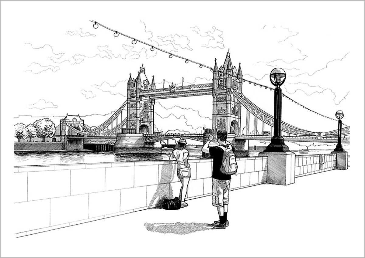 tower bridge line drawing print a view of the iconic tower bridge in london