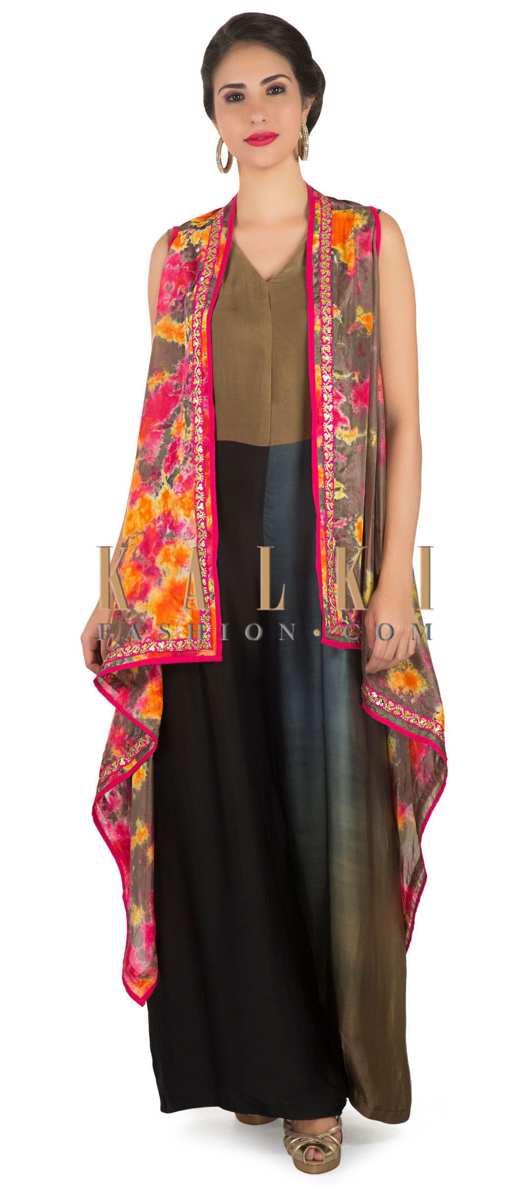 Jumpsuit in multi color matched with brown printed long jacket only