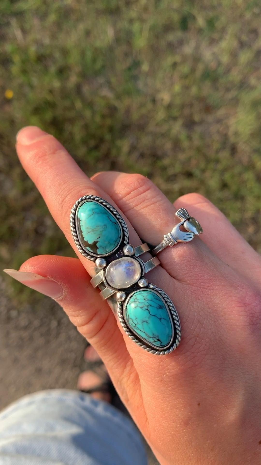 Blue Moon Turquoise & Moonstone statement ring size 8 available #statementjewelry #turquoisejewelry #moonstone #moonstonering