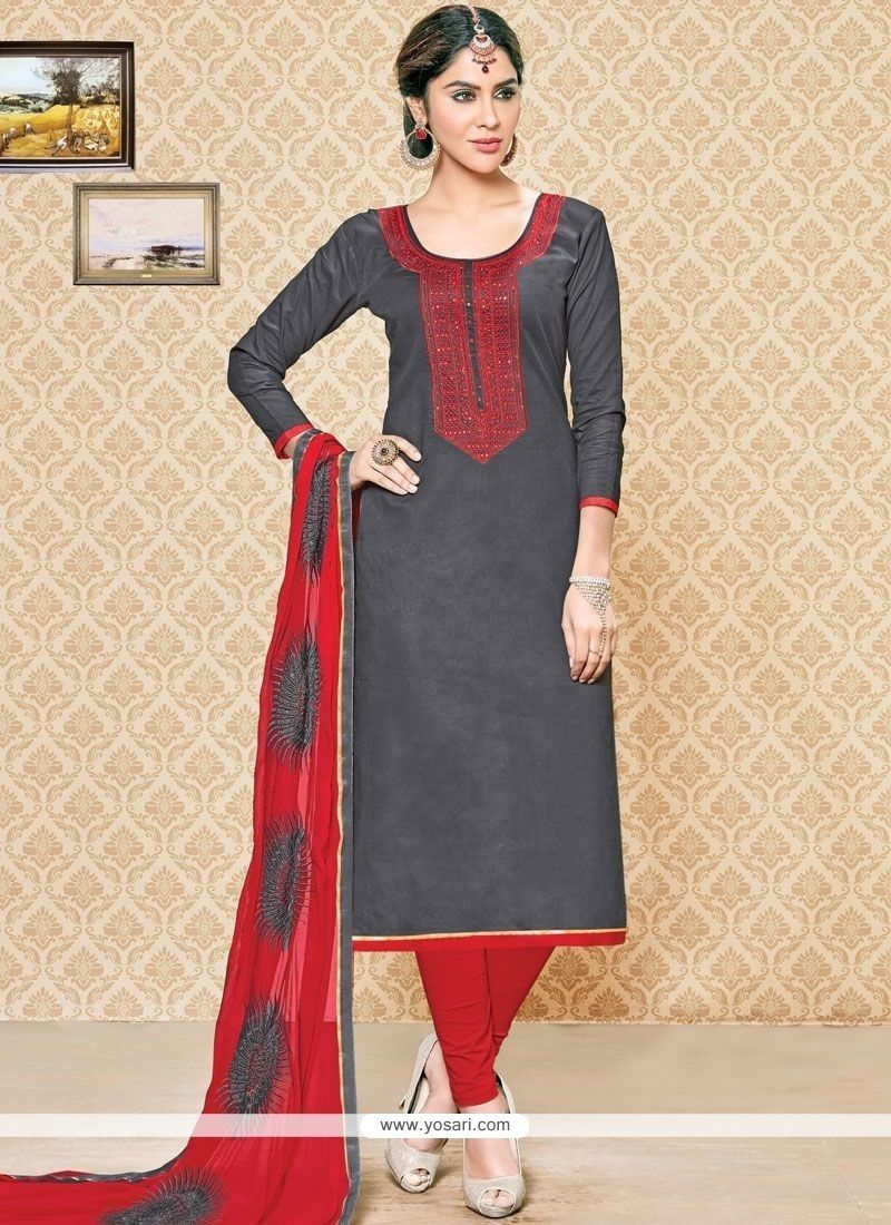 d9d21d33f3 Buy Aspiring Embroidered Work Grey And Red Cotton Churidar Suit Online from  India at yosari.