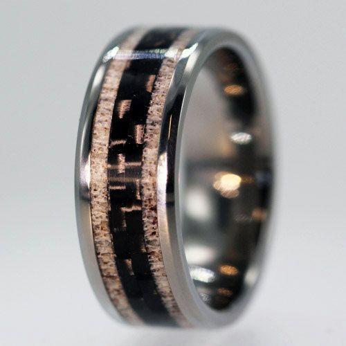 unique carbon fiber ring deer antler wedding band with titanium mens jewelry - Dinosaur Bone Wedding Ring