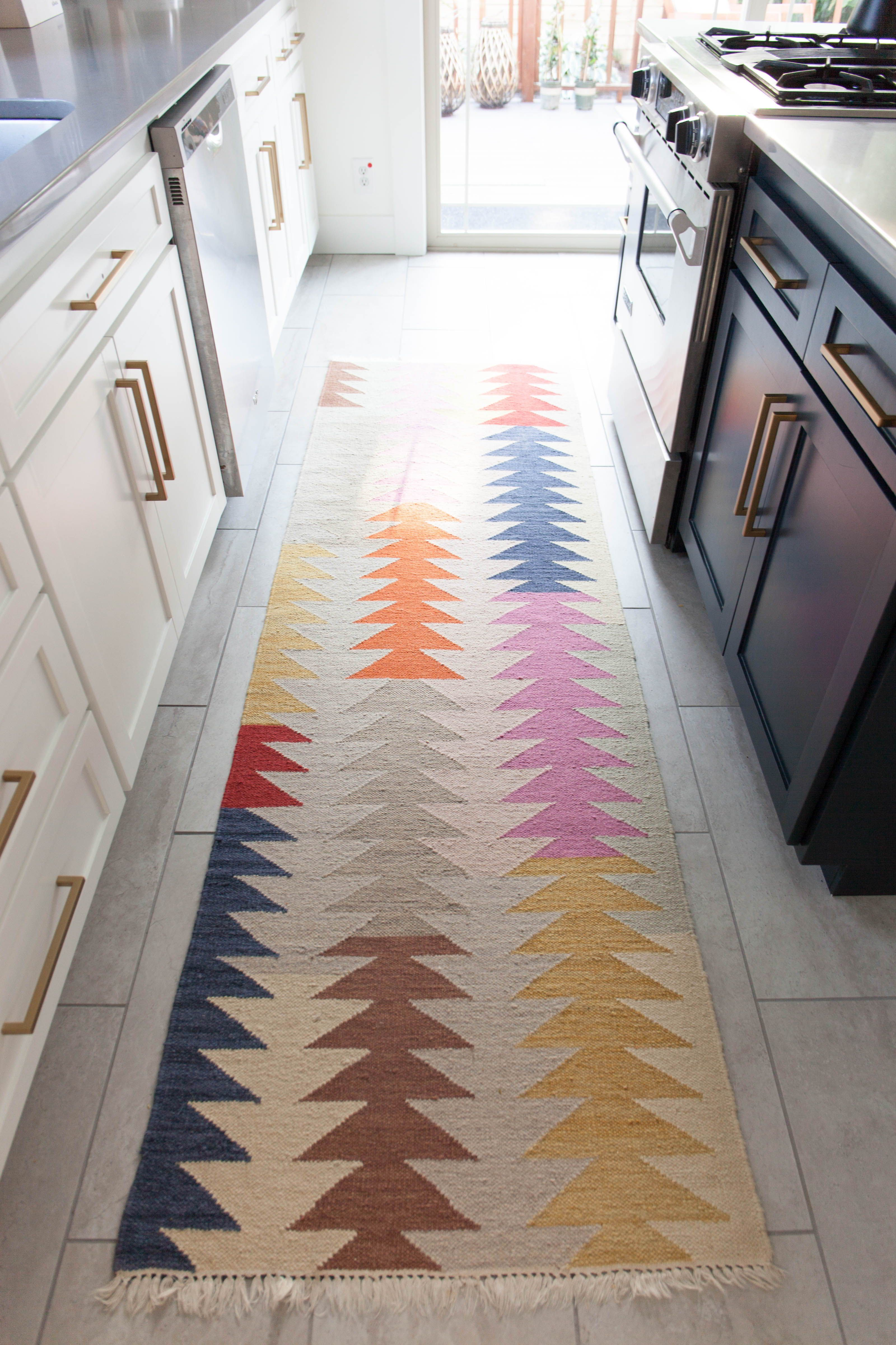 Great Idea For Runners Blue And White Stripes I Have A Railroad Car Type Kitchen Dining Room And Living Room G Nautical Kitchen Striped Rug Nautical Rugs