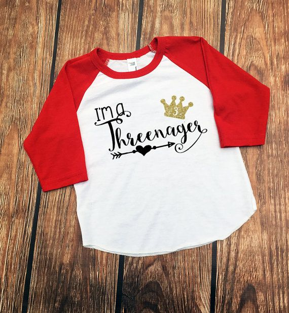 Threenager Shirt Third Birthday Shirt 3 Year Old Girl