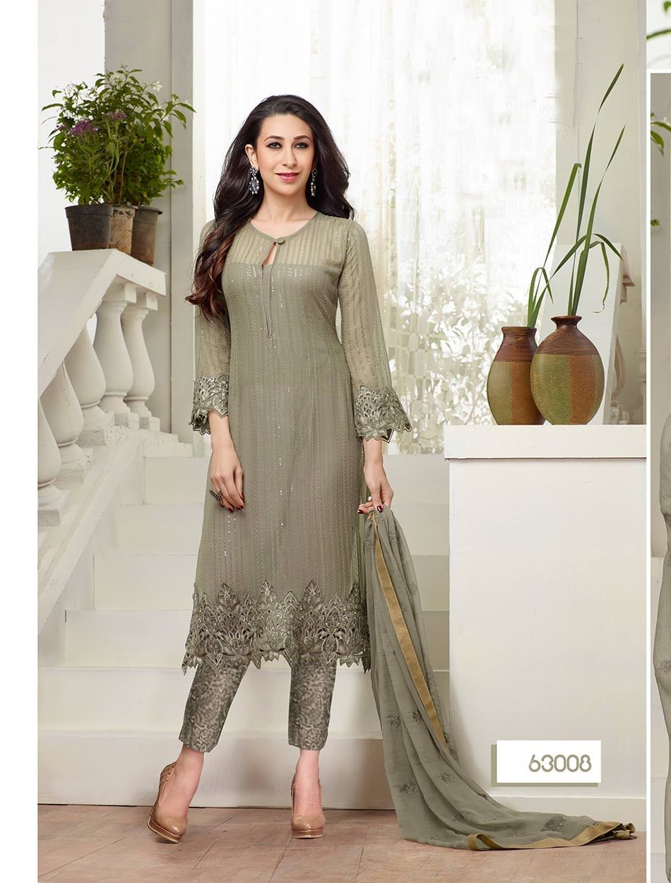 b0b62dc3a22 Shop Thankar New Designer Grey Straight Plazo Suit by Thankar online.  Largest collection of Latest Salwar Suits online. ✻ 100% Genuine Products ✻  Easy ...