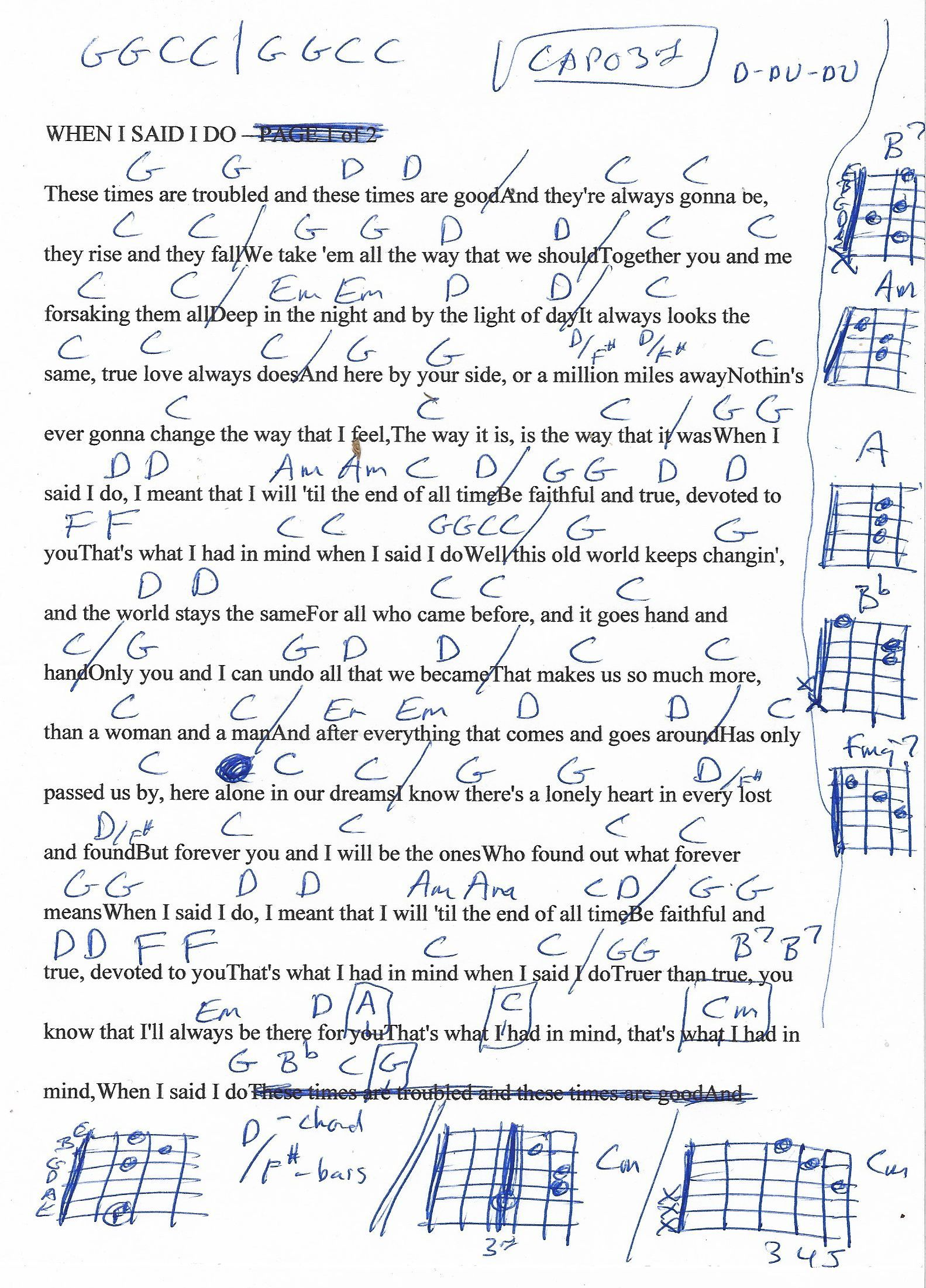 When I Said I Do (Clint Black) Guitar Chord Chart - Capo 3rd Fret