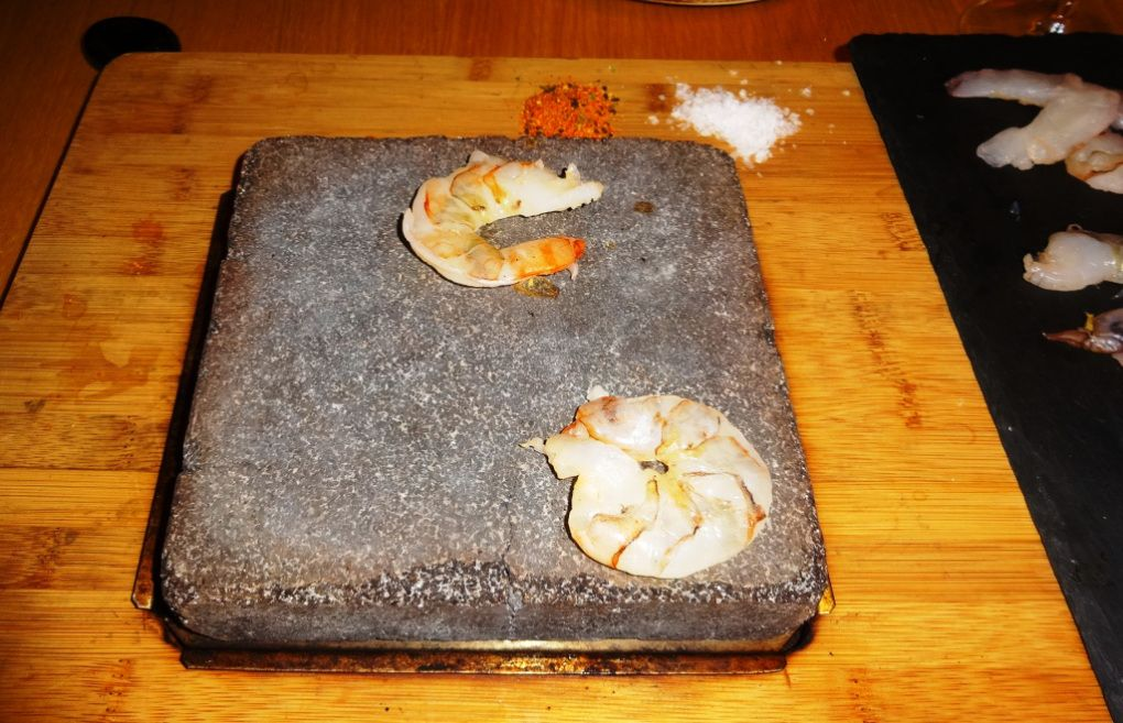 Tiger prawns on stone at Yume - reijosfood.com