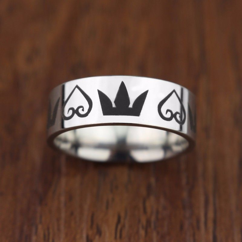 Kingdom Hearts Crowns Mens Comfort Stainless Steel Wedding Ring