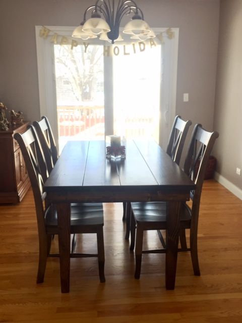 5 L X 37 W Farmhouse Table With Tapered Legs And A Traditional Top Stained Dark Walnut Satin Finish Pictured Double Back Chairs