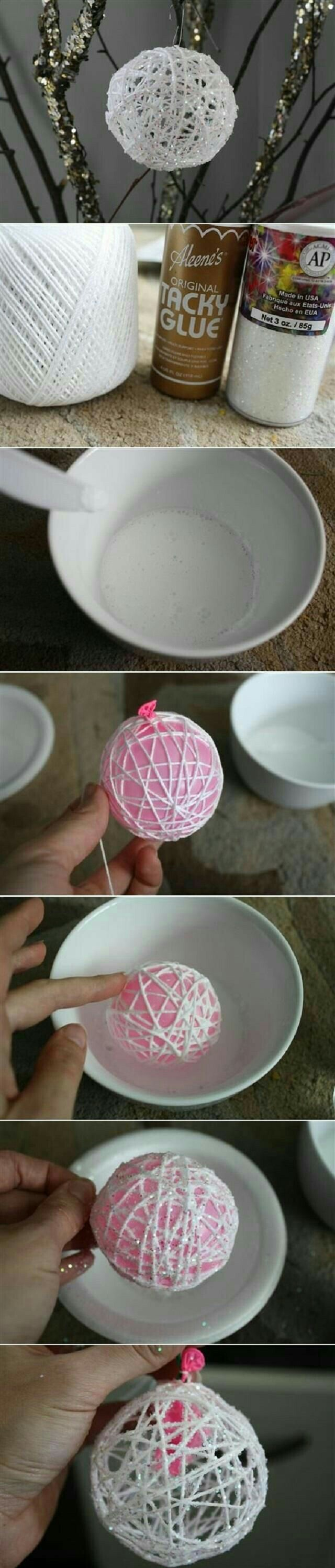 Esferas de estambre.  Manualidad navideña