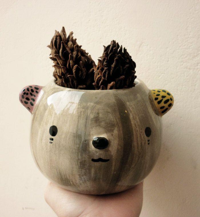 Cute Ceramic Bear Pot Etsy Enchantment Pinterest