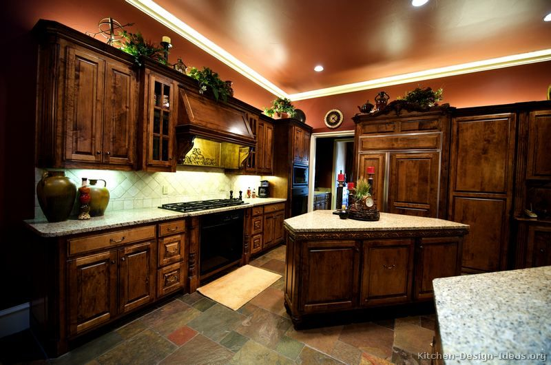 Traditional dark wood golden kitchen cabinets no