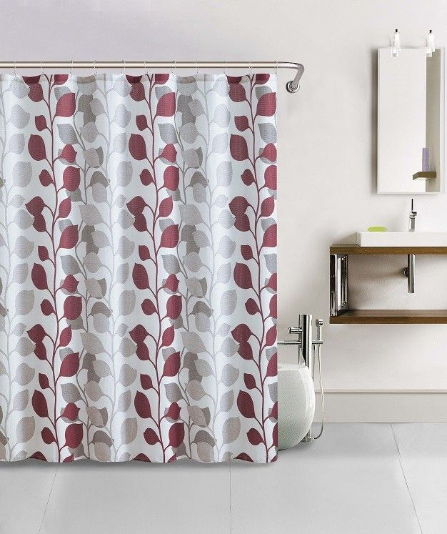 Shower Curtain 13pc Waffle Texture Set With Rollerball Hooks Sydney Red