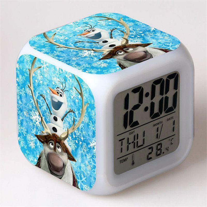 Digital Alarm Clock Elsa Anna Olaf Cartoon Reloj Despertador Glowing Led Color Change Desktop Clock electronic Desk Watch