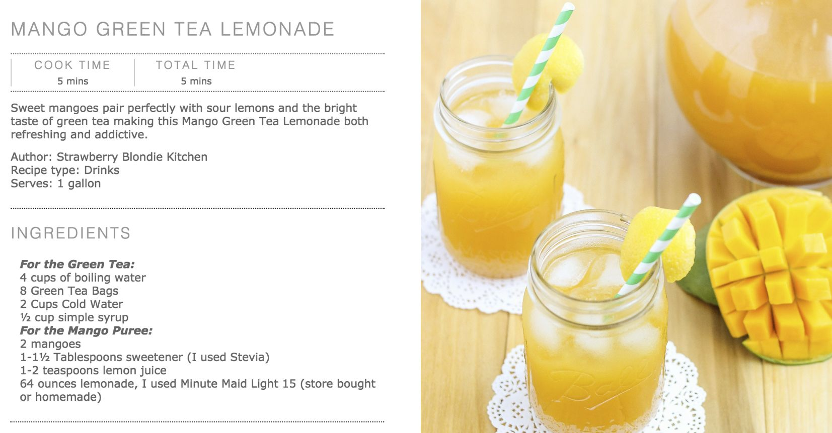 Recipe of Making Mango Green Tea Lemonade Drink