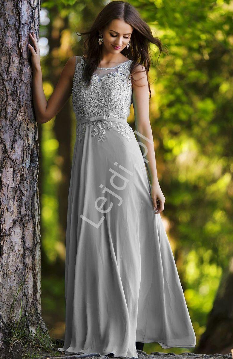 6bf840b4 Szare sukienki wieczorowe z koralikami i cekinami   szara suknia ...